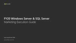 Microsoft Server MDF Marketing Execution Guide MEG FY2020