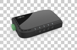 FUJITSU Accessory USB-C Hub 4 Ports - top, left, with plug, 2