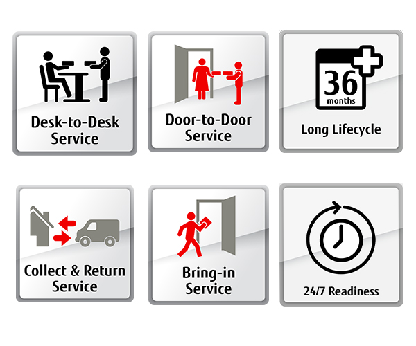 Sample product feature icons including: Desk-to-desk service, door-to-door service, Long Lifecycle